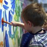 kindergarten student painting